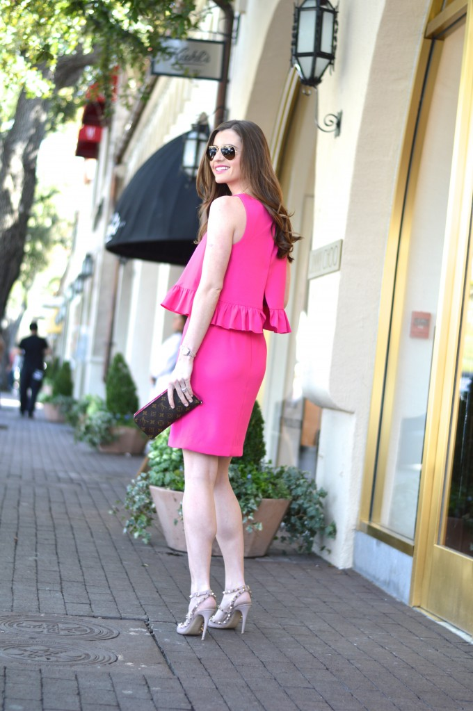 trina turk pink ruffle dress
