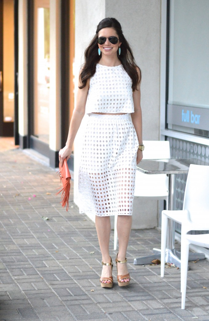 white crop top & skirt | bishop&holland