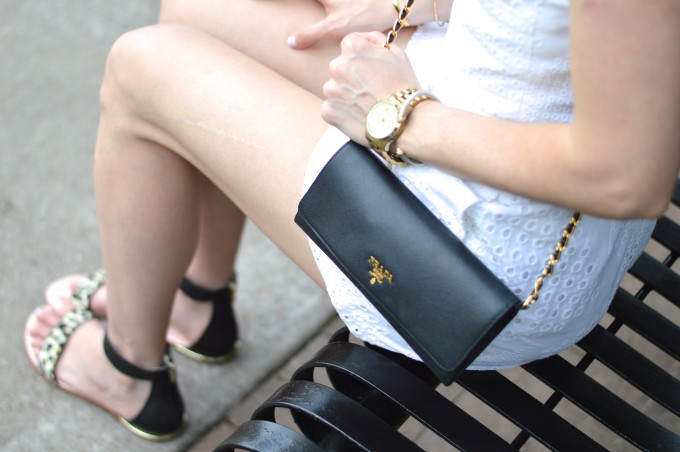 Prada wallet on a chain, casual summer style, summer romper