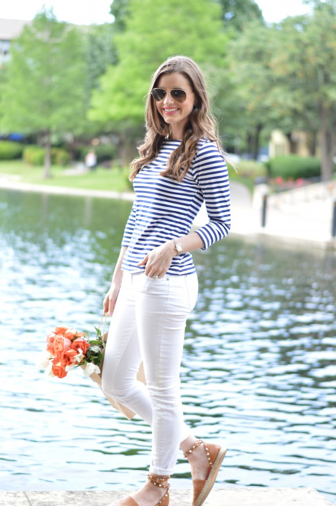 summer stripes, white jeans, valentino espadrilles,