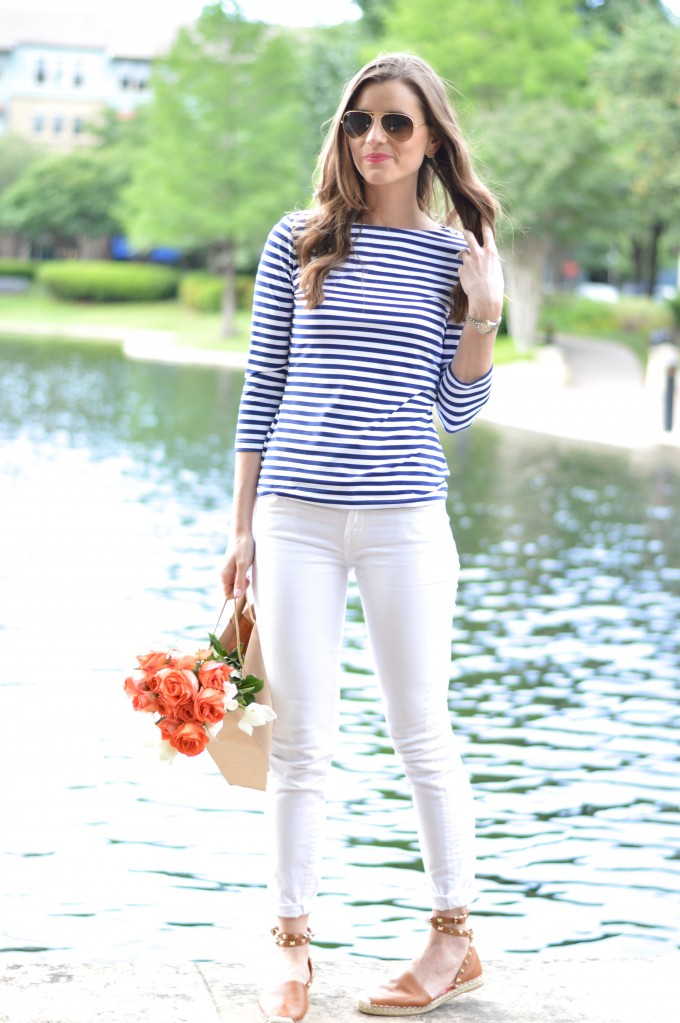 3 summer striped t-shirt, white jeans, valentino rockstud espadrilles, how style a striped t-shirt for summer
