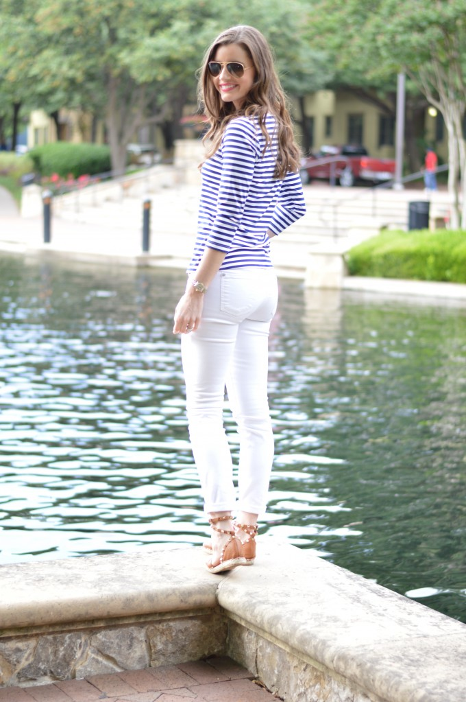 4 summer striped t-shirt, white jeans, valentino rockstud espadrilles, how style a striped t-shirt for summer