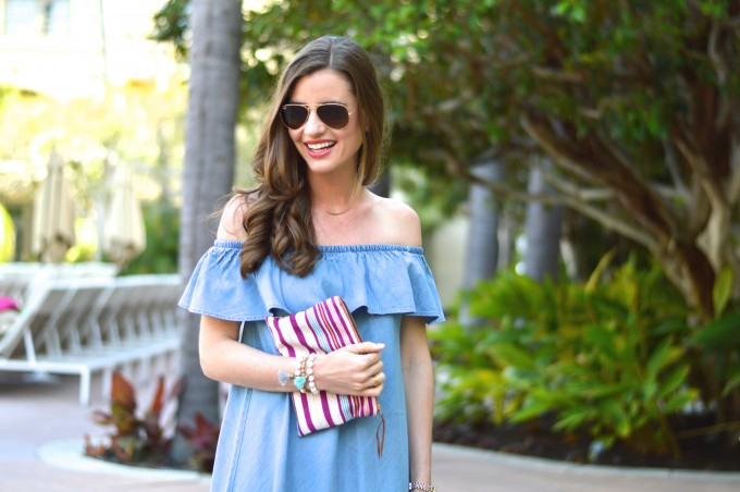 ray ban aviators, easy summer curls, striped clutch, empowering women