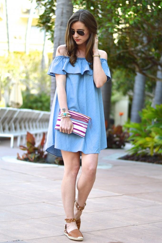 ruffled chambray dress, valentino rockstud espadrilles, easy summer curls, what to wear to a casual pool party