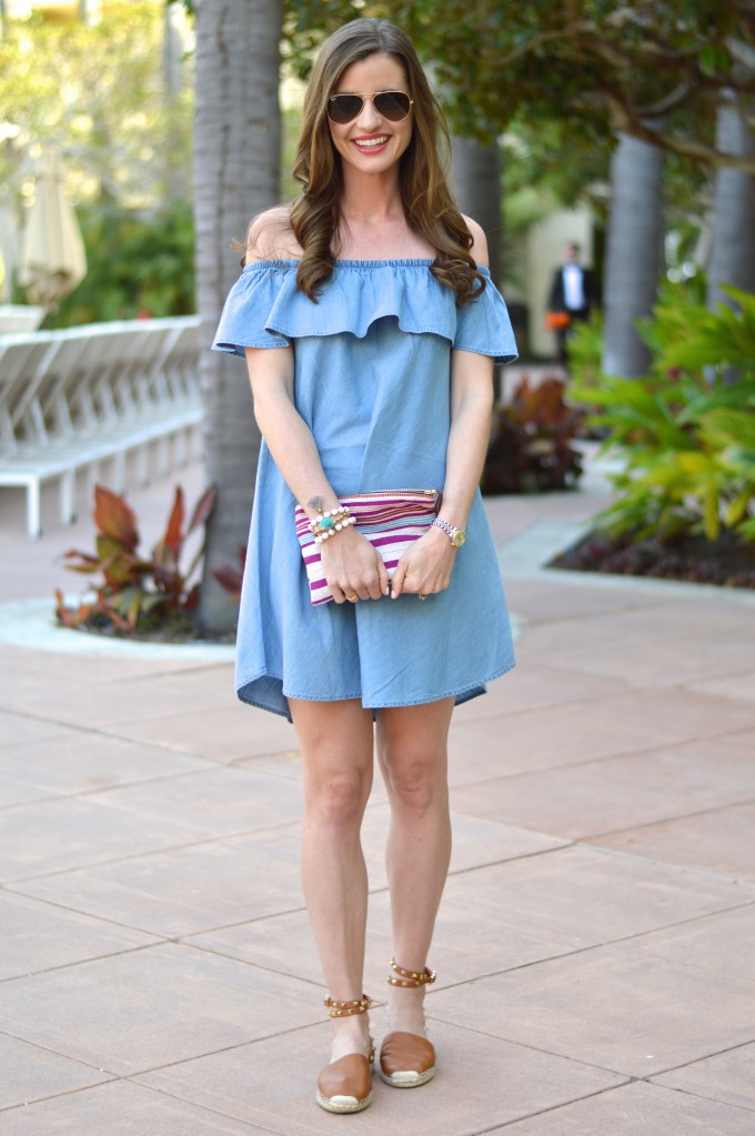 valentino rock studs espadrilles, tassels jewelry, chambray dress, how to wear a chambray dress, summer style, casual summer dress, ruffled dress