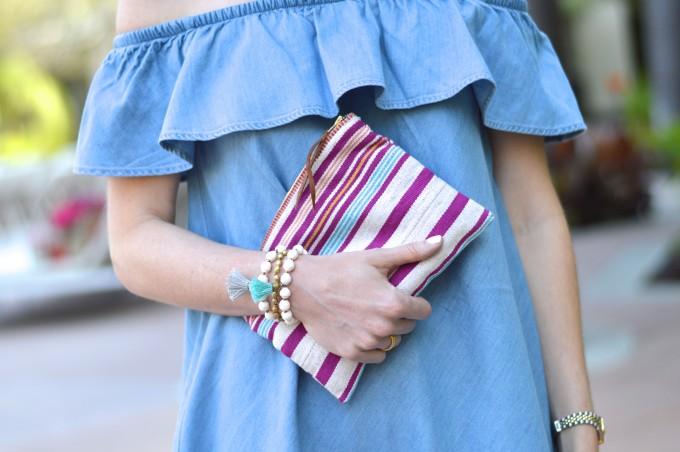 chambray dress, ruffled dress, stripes, beaded bracelets casual summer looks