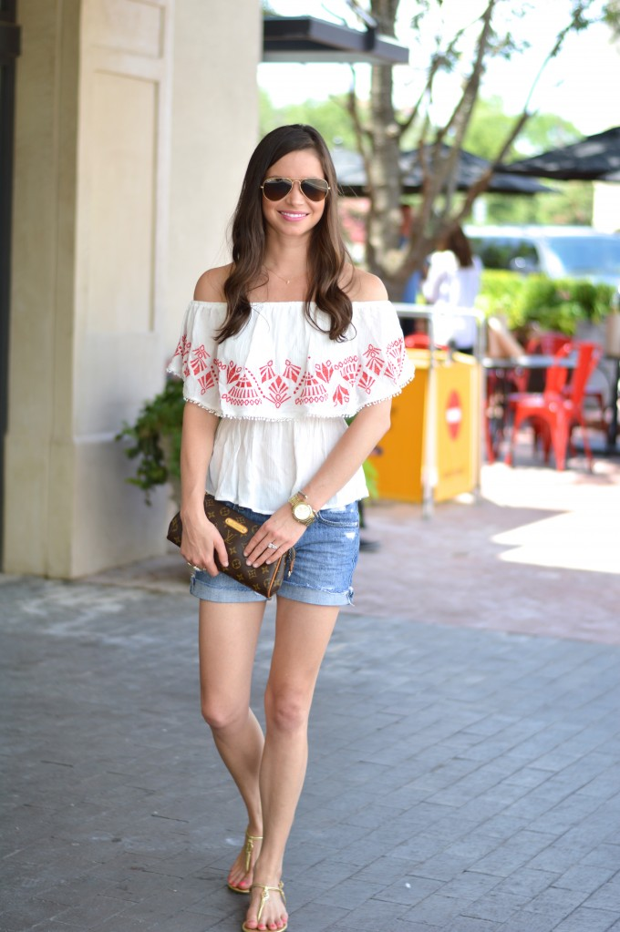 off the shoulder top,casual summer tops, how to style denim shorts, how to wear an off the shoulder top