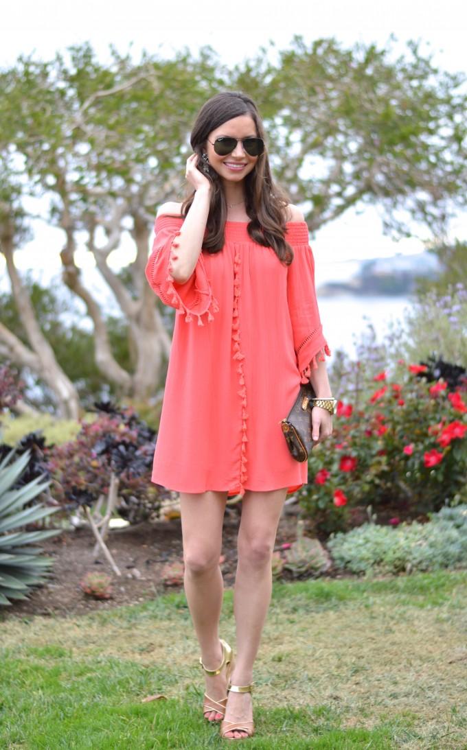 summer style, tassel dress, coral tassel dress, resort style
