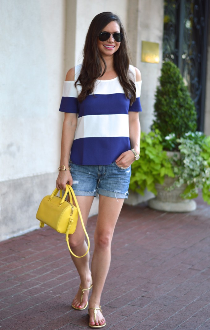 casual summer style, how to wear a cold shoulder top, what to wear with a cold shoulder top,