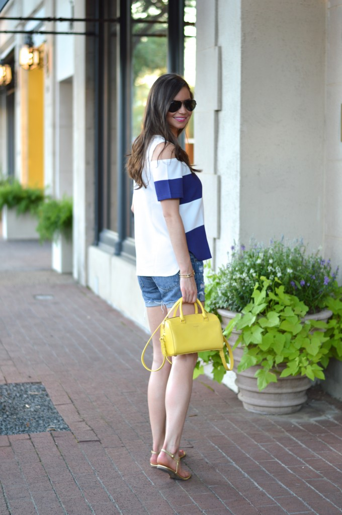navy and whites striped top, cold shoulder top, yellow handbags
