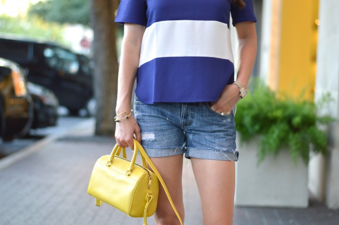 cold shoulder top, what to wear with a cold shoulder top, how to wear a cold shoulder top, casual summer style, yellow mini handbag