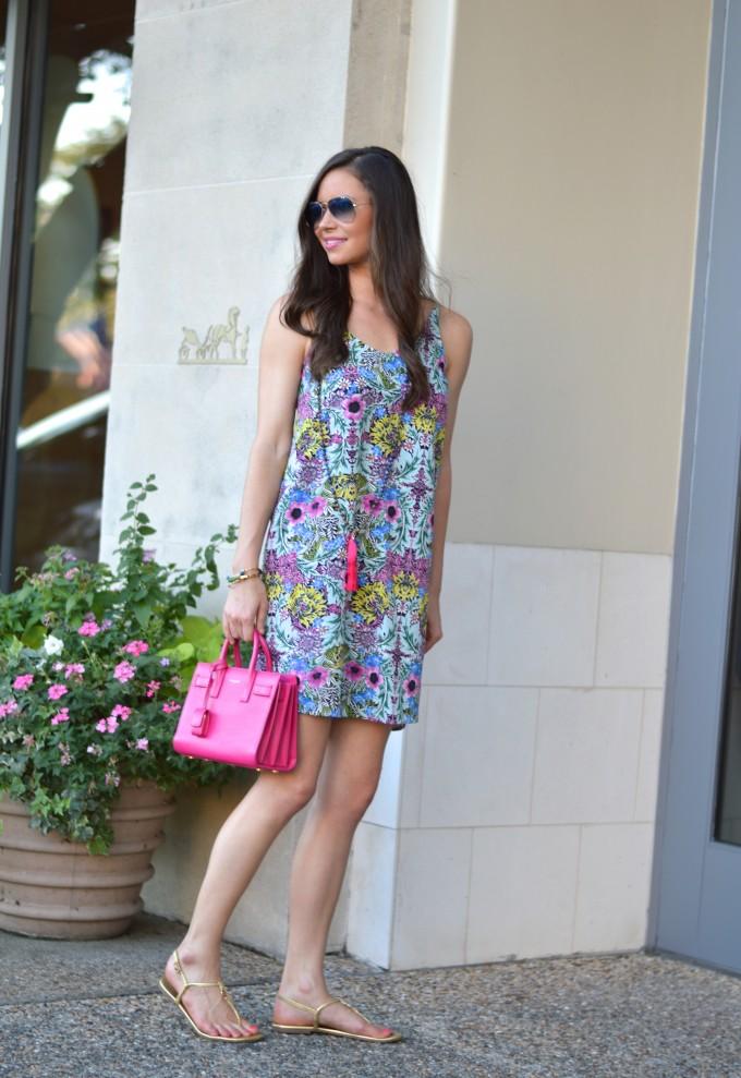 hot pink handbag, ladylike handbag, summer style, slip dress