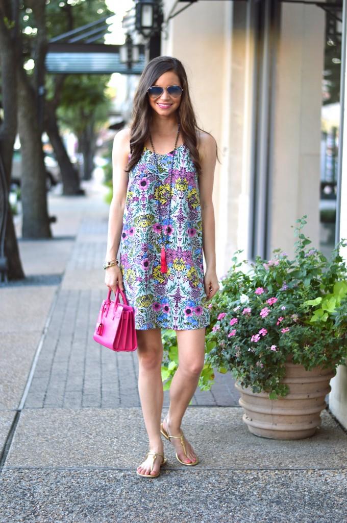 floral print slip dress, floral dress, floral slip dress, hot pink hand bag, tassel necklace, tory burch gold sandals