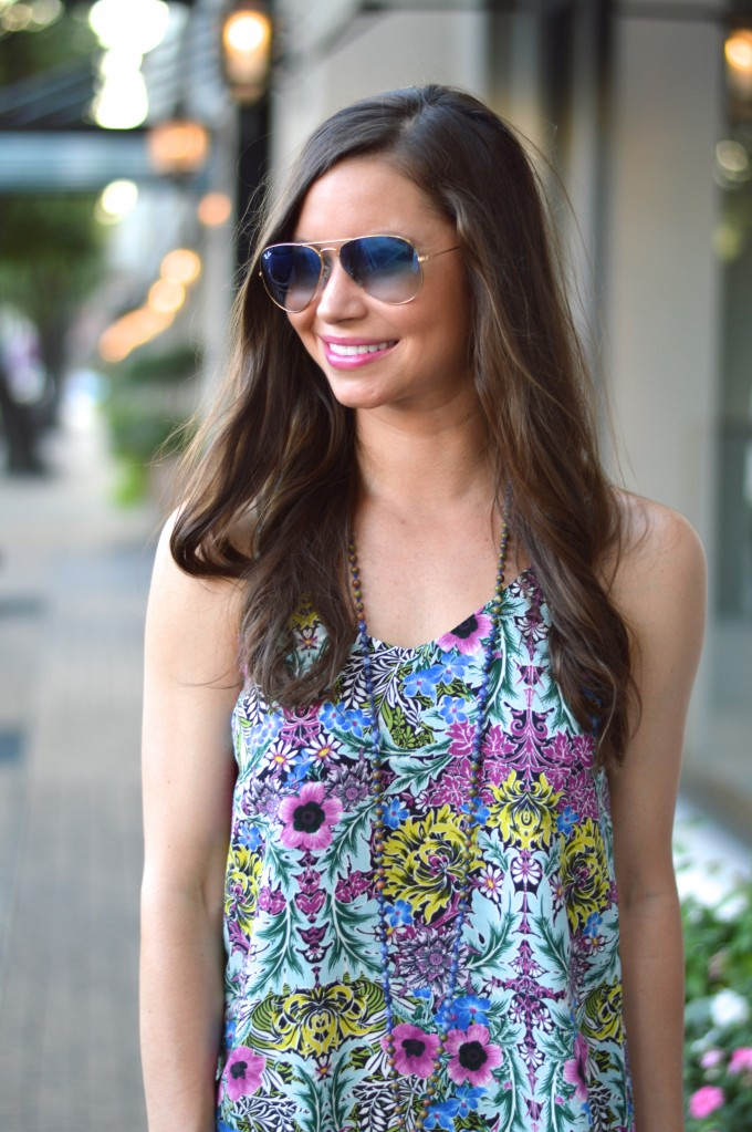 ray ban aviators, easy summer hair, tassel necklace, floral dress