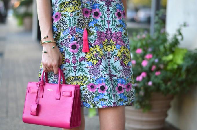tassel necklace, bead and tassel necklace, stacking bracelets, hot pink handbag
