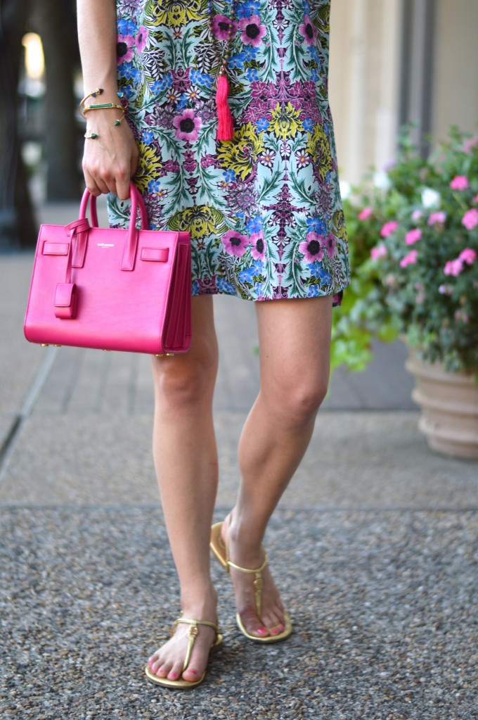 Saint Laurent pink handbag, tory burch gold sandals, floral dress