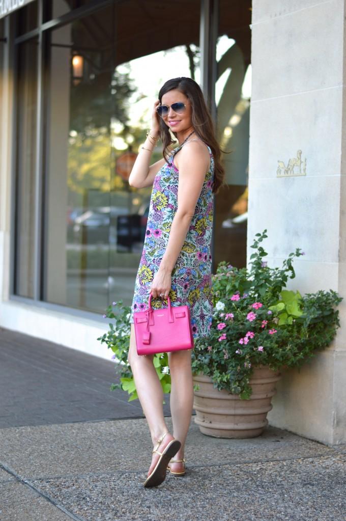 floral slip dress, summer dress, easy summer style, hot pink handbag, gold sandals
