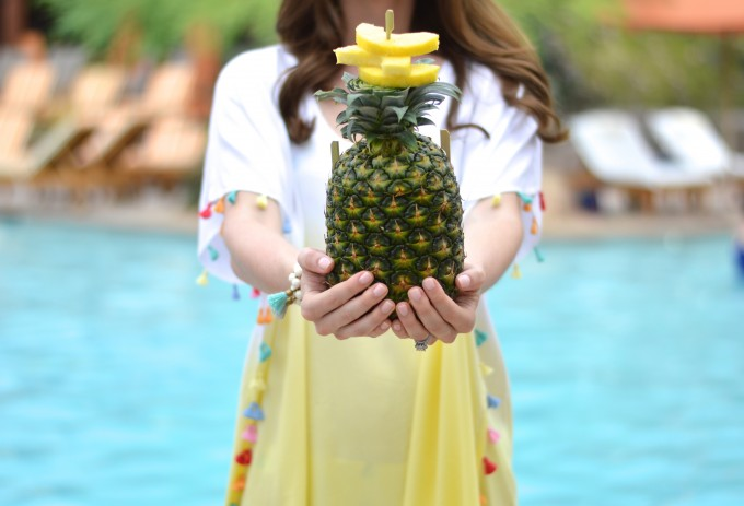 tassel cover up, pineapple drink, four seasons scottsdale, festive summer drink