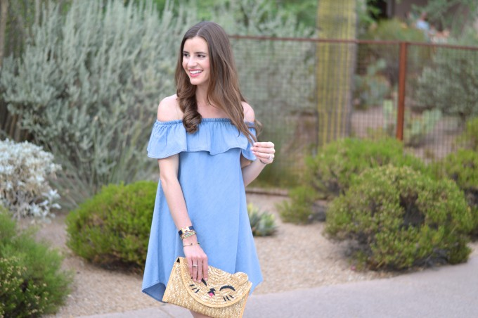 off the shoulder chambray dress, casual date night, couples getaway, four seasons scottsdale