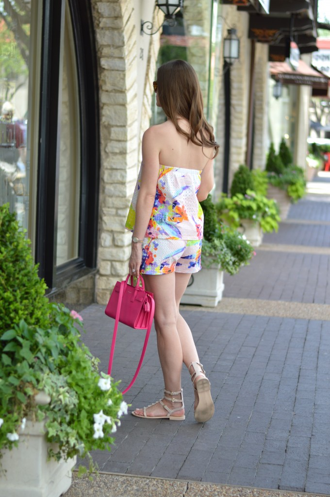 matching shorts set, coordinating tops and bottoms, floral print top and shorts, mini handbag, hot pink handbag, mini cross body bag, gladiator sandals