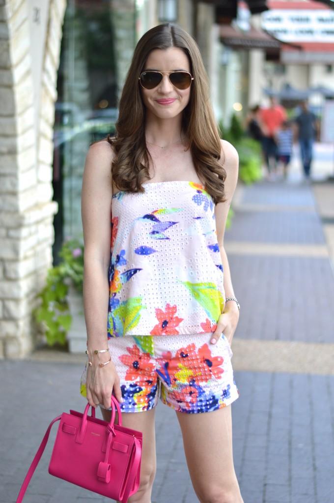 matching shorts set, coordinating tops and bottoms, floral print top and shorts, mini handbag, hot pink handbag