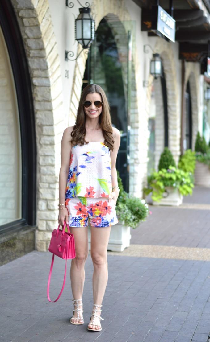 matching shorts set, coordinating tops and bottoms, floral print top and shorts, mini handbag, hot pink handbag, summer style