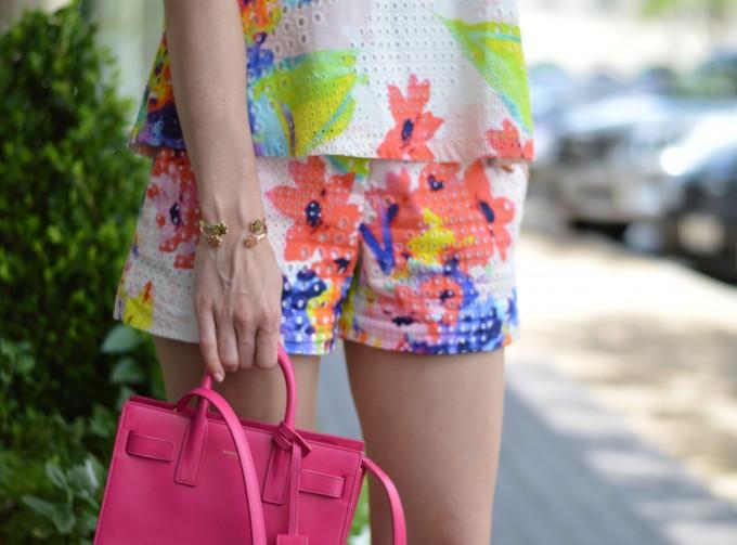 tropical print, matching shorts set, coordinating tops and bottoms, floral print top and shorts, mini handbag, hot pink handbag, mini cross body bag