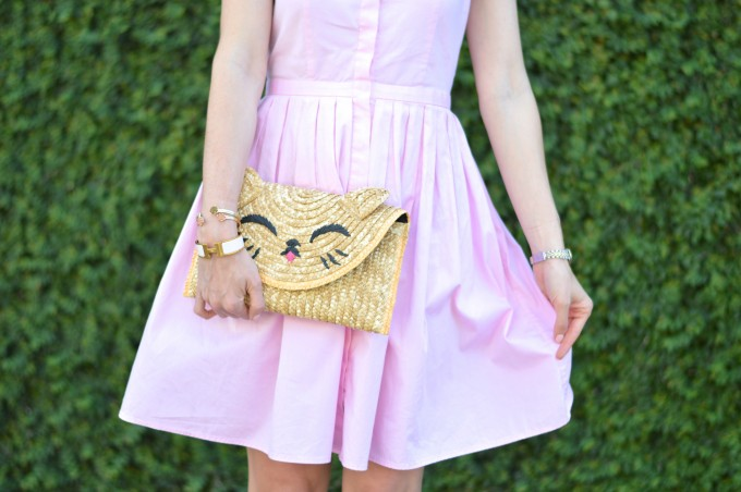 Tiptop cat clutch, pink shirt dress, how to style a shirt dress, summer style, lady-like style