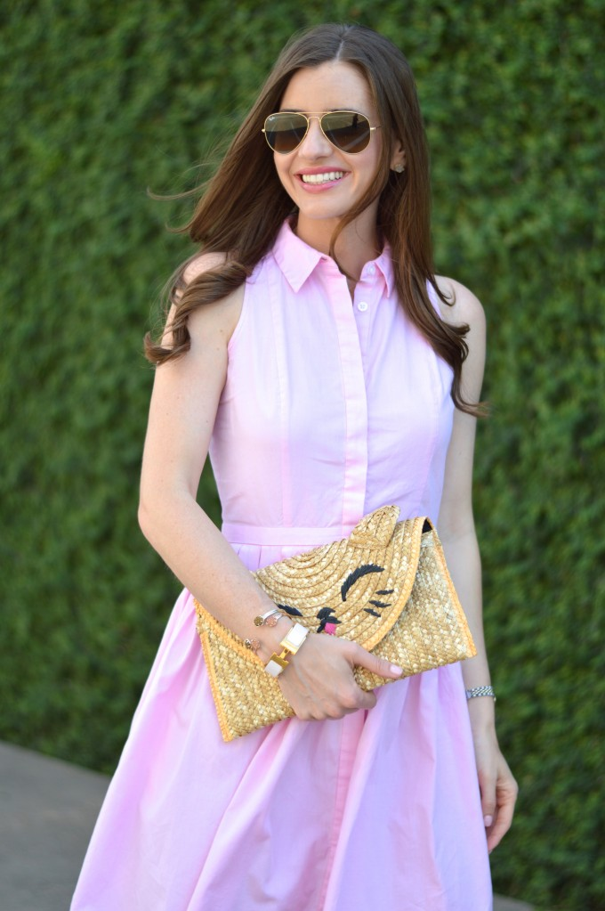 pink shirt dress, Topshop cat clutch, easy summer style