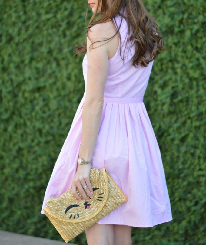 pink shirt dress, Topshop cat clutch, relaxed curls
