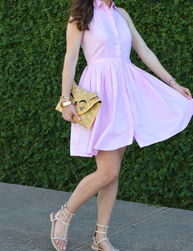 summer style, pink shirt dress, twirlable dresses, Topshop cat clutch, pink dresses