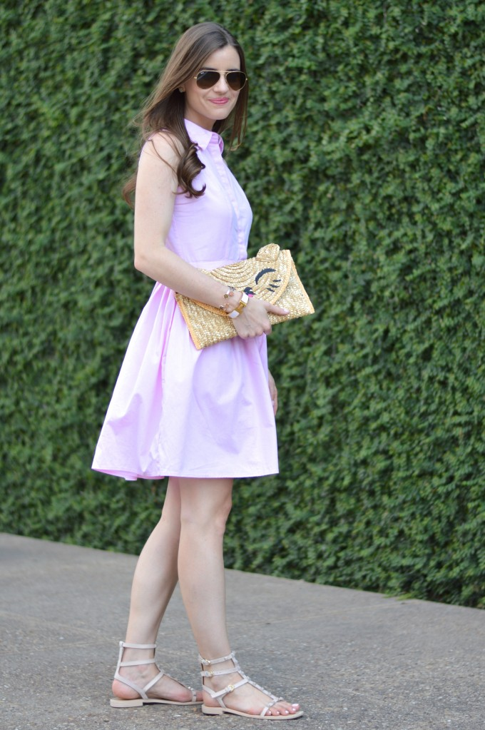 pink shirt dress, pink, pink dresses, Topshop cat clutch, gladiator sandals, summer style, casual summer style, summer dresses