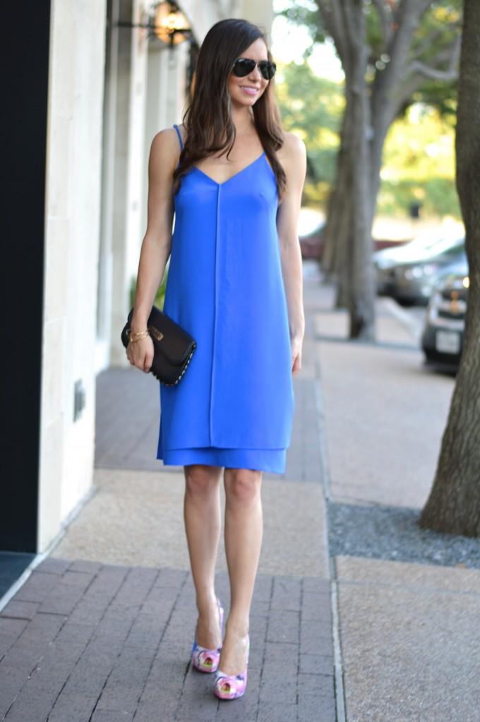cobalt blue dress, summer wedding style, slip dress, simple elegant dress