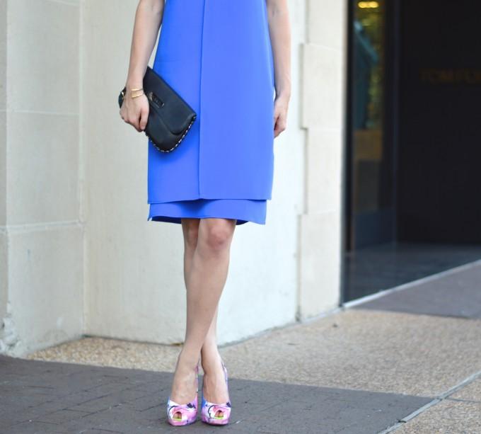 cobalt blue dress, summer wedding style, slip dress, floral pumps, Chanel clutch