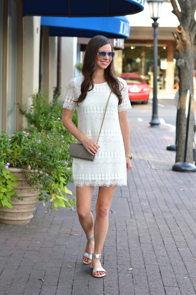 cream shift dress, lace dresses, prada cross body bag
