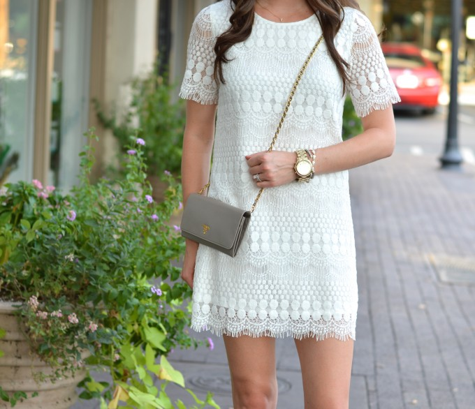 cream shift dress, boyfriend watch, cross body bag