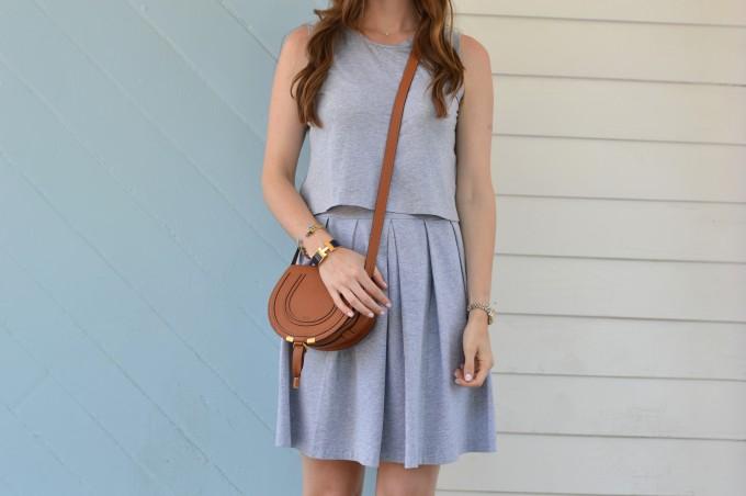 gray dress, casual summer dresses, Chloe cross body bag, cognac handbag