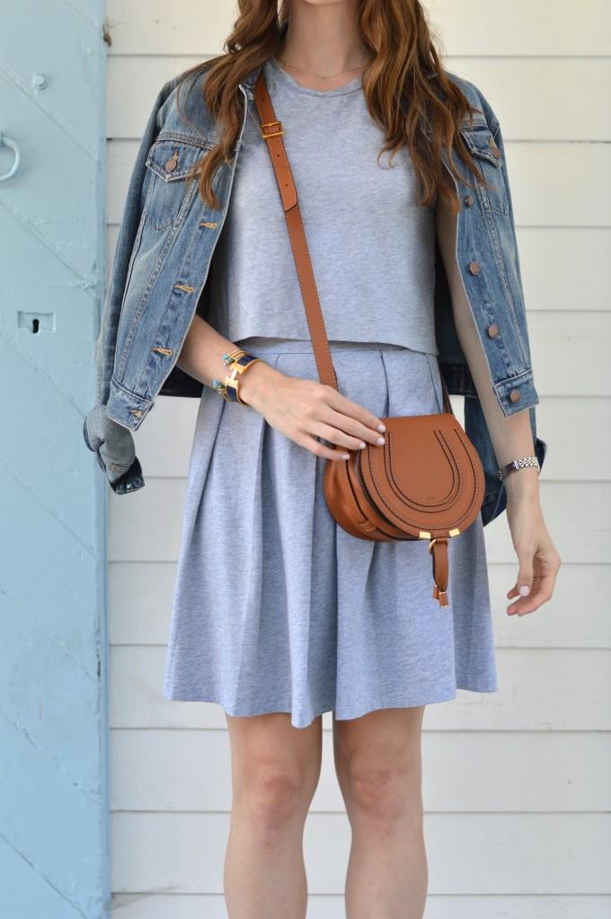 Chloe cross body bag, Chloe Marcia bag, cognac handbag, casual gray dress, how to add accessories