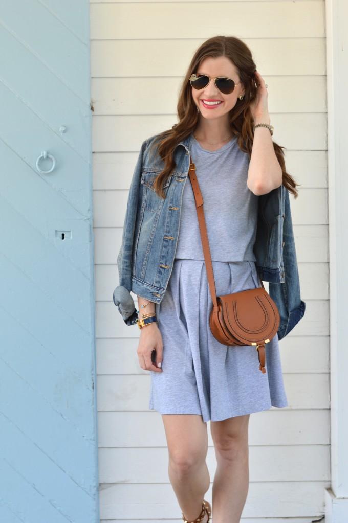 gray dress, casual gray dress, casual summer style, Chloe Marcie handbag