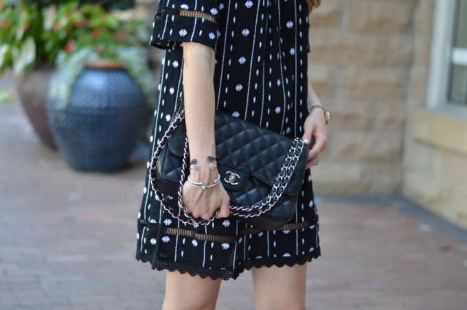 chanel handbag, arm party, off the shoulder dress