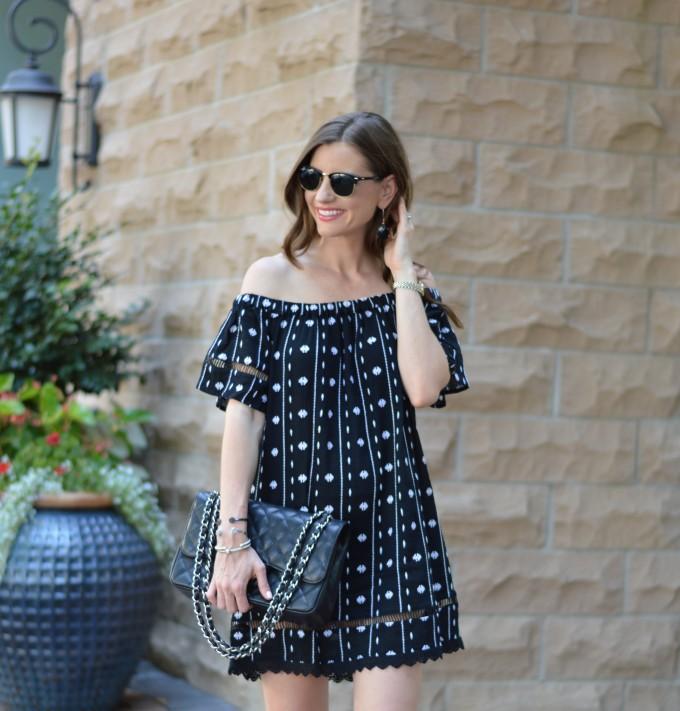 off the shoulder dress, blackened white off the shoulder dress, Chanel handbag, sumer style