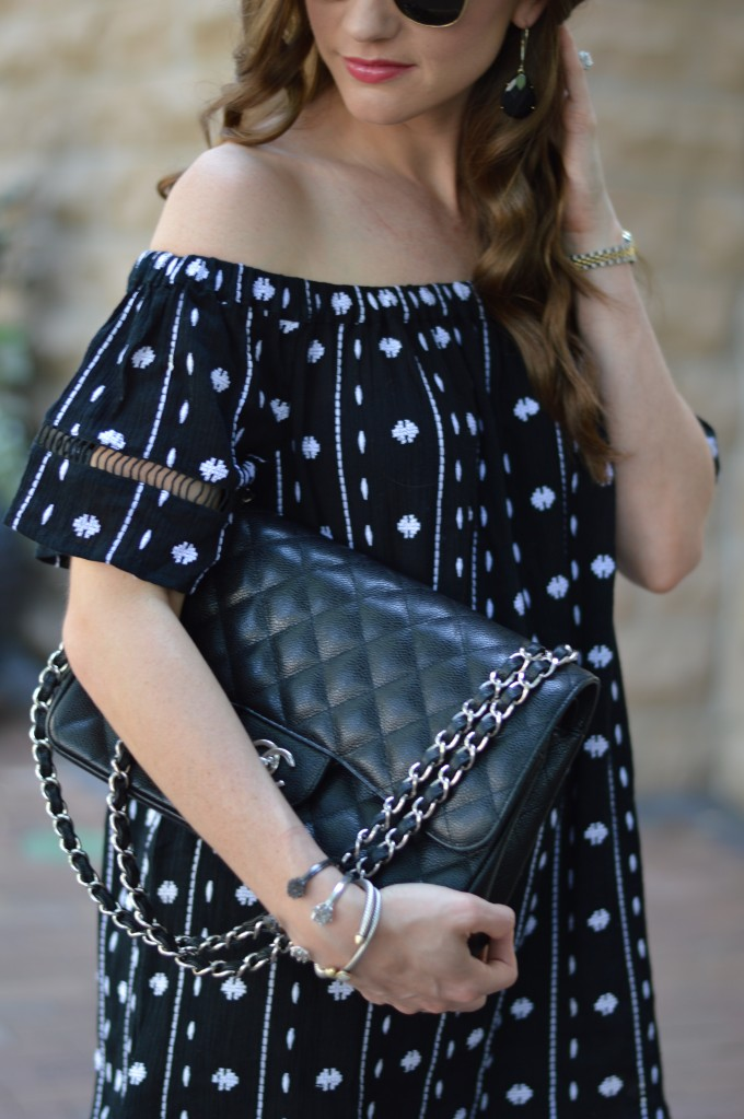 black and white dresses, off the shoulder dress, summer style, Chanel handbag
