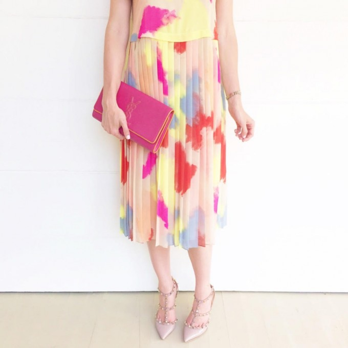 coloful midi dress, wedding attire, sonoma valley getaway
