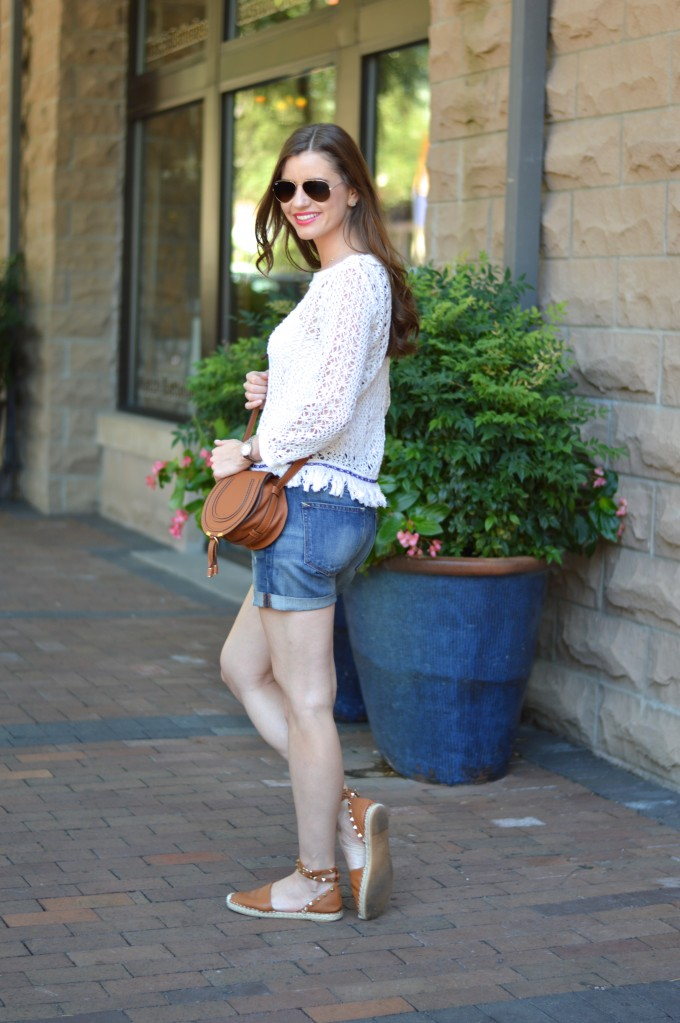 transitional fringe sweater, summer style, distressed denim, cross body bag, Chloe handbag