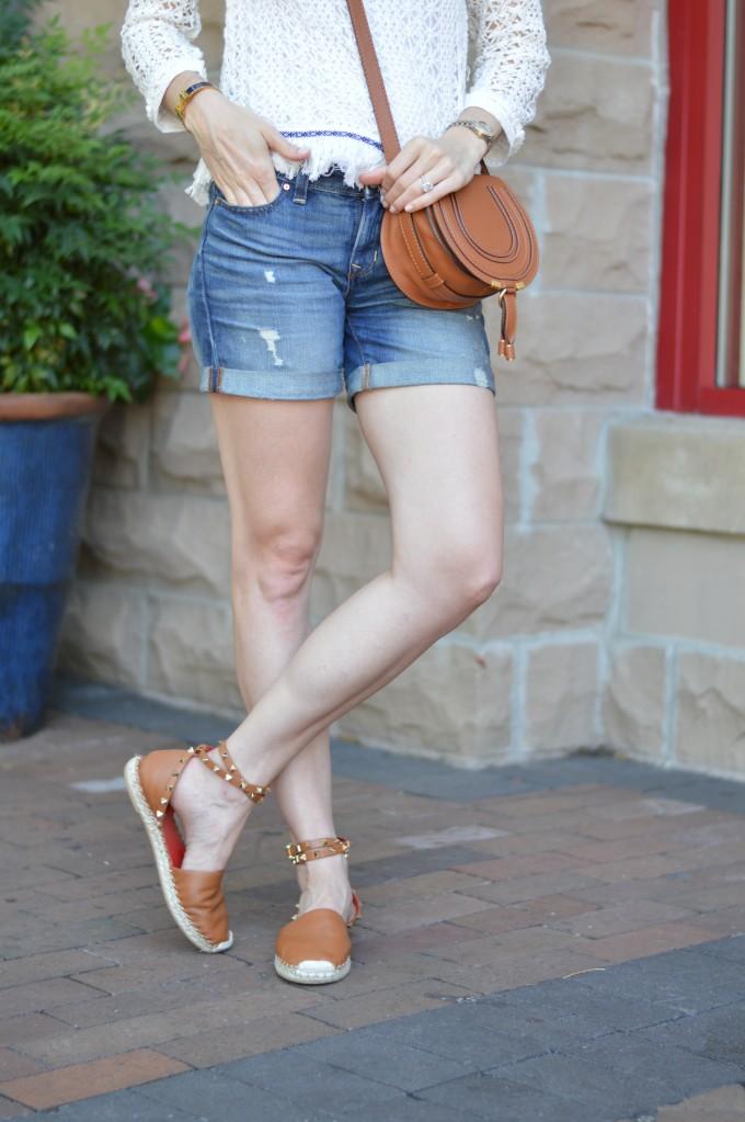 transitional fringe sweater, casual summer style, valentino rockstud espadrilles, chloe cross body bag, fringe trend