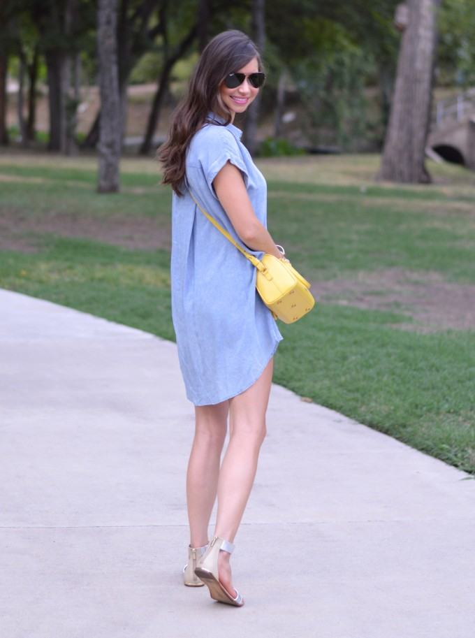 chambray dress, fall transitional style,