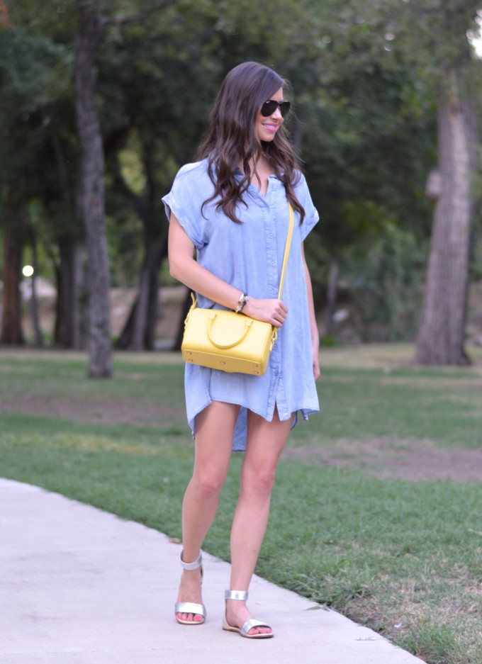 casual summer dresses, barbecue style, how to wear a chambray shirt dress, short dresses, yellow handbag