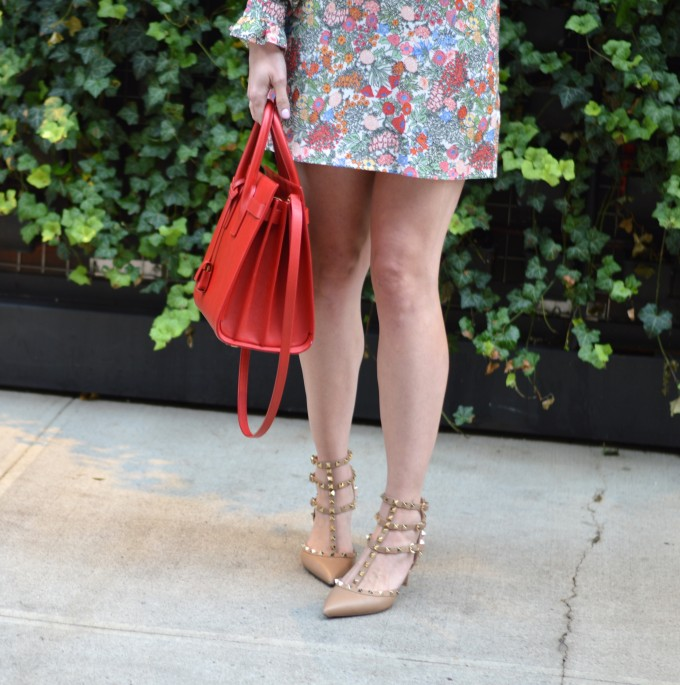 Valentino rockstud heels, fall floral dresses
