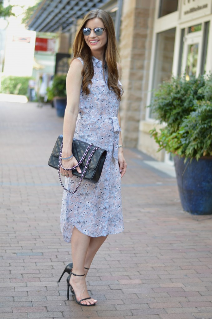 floral shirtdress, fall fashion, how to transition to fall, midi length shirtdress