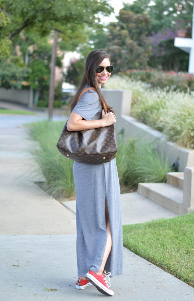 casual fall style, gray t-shirt dress
